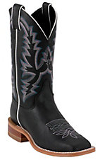 Justin Bent Rail Ladies Black Punchy Wide Square Toe Double Welt Western Boots
