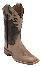 Justin Bent Rail Women's Antique Beige w/Cobre Metallic Top Double Welt Square Toe Western Boots