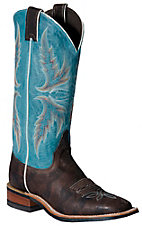 Justin Bent Rail Ladies Chocolate Brown w/ Bright  Blue Top Square Toe Western Boot