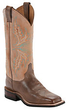 Justin Bent Rail Ladies Arizona Mocha Brown w/ Tan Top Square Toe Western Boots