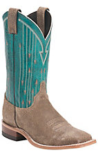 Justin Bent Rail Ladies Vintage Tan w/Teal Top Double Welt Square Toe Western Boots