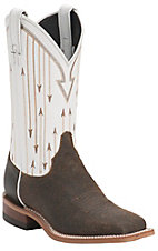 Justin Bent Rail Women's Chocolate Mesquite w/ White Top Double Welt Square Toe Western Boots