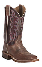 Justin Bent Rail Women's Brown with Purple Upper Square Toe Western Boot