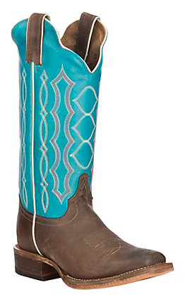 Justin Bent Rail Women's Katia Chocolate with Aqua Punchy Toe Western Boots