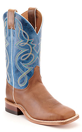 Justin Women's Bent Rail Mocha Brown and Blue Wide Square Toe Western Boot