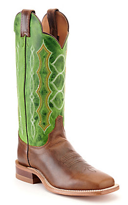 Justin Women's Bent Rail Lawton Brown and Green Wide Square Toe Western Boot