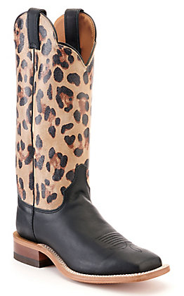 Justin Women's Bent Rail Black and Leopard Print Wide Square Toe Western Boot