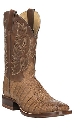 Justin Men's CPX Dark Tan Caiman and Brown Wide Square Toe Western Boot