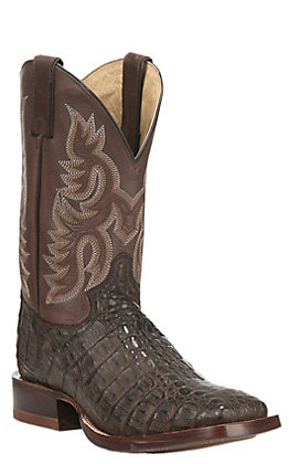 Justin Men's CPX Collection Chocolate with Brown Upper Square Toe Exotic Boots