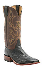 Justin AQHA Remuda Mens Black Full Quill Ostrich w/ Antique Brown Top Exotic Square Toe Boots