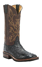 Justin AQHA Remuda Mens Black Full Quill Ostrich w/ Antique Brown Top Exotic Square Toe Crepe Sole Boots