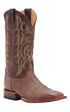 Justin AQHA Remuda Mens Barnwood Waxy Smooth Ostrich w/ Brown Top Exotic Square Toe Boots