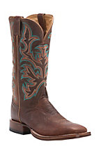Justin AQHA Remuda Mens Antique Saddle Smooth Ostrich w/ Brandy Top Exotic Square Toe Boots