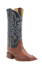 Justin AQHA Remuda Mens Burnished Rust Full Quill Ostrich w/ Navy Top Exotic Square Toe Boots