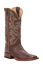 Justin AQHA Remuda Mens Antique Saddle Full Quill Ostrich w/ Brandy Top Exotic Square Toe Boots