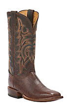 Justin AQHA Remuda Mens Antique Saddle Smooth Ostrich w/ Brown Goat Top Exotic Square Toe Boots