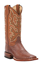 Justin AQHA Remuda Mens Cognac Waxy Smooth Ostrich Exotic Square Toe Boots
