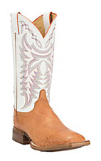 Justin Men's Cognac with White Upper Smooth Ostrich Exotic Square Toe Boots