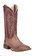 Justin Men's Antique Brown with Dark Red Smooth Ostrich Exotic Square Toe Boots
