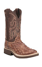 Justin Men's Antique Brown Full Quill with Brown Upper Exotic Round Toe Boots