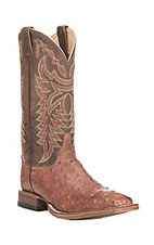 Justin Men's Tobacco Full Quill Ostrich with Antique Brown Upper Exotic Square Toe Boots