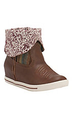 Justin Gypsy Dust Women's Caramel with Burgundy Paisley Round Toe Wedge Boots