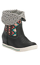 Justin Gypsy Dust Women's Black with Aztec & Geometric Print Round Toe Wedge Boots