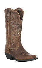 Justin Women's Light Coffee with White and Turquoise Stitching Western Square Toe Boots