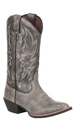 Justin Women's Graphite Leather Stampede Collection Western Round Toe Boot