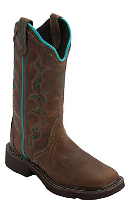 Justin Gypsy Collection Women's Tan Jaguar Triad Square Toe Western Fashion Boots