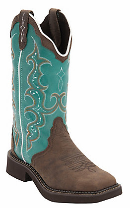 Justin Gypsy Women's Distressed Brown with Turquoise Top Triad Square Toe Western Boots