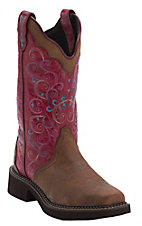 Justin Gypsy Women's Bay Apache Brown w/Lipstick Pink Top Triad Square Toe Western Boots