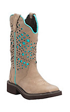 Justin Gypsy Collection Women's Sanded Buffalo with Turquoise Laser Cut Top Square Toe Boots
