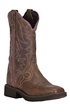 Justin Women's Brown with Purple Stitching Gypsy Square Toe Boot