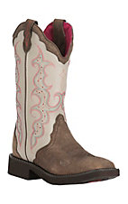 Justin Women's Bone with Barnwood Foot and Pink Stitching Western Square Toe