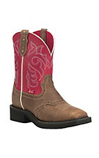 Justin Women's Dusted Tan with Ruby Red Upper Gypsy Square Toe Boots