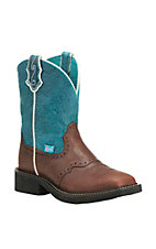 Justin Women's Cognac with Teal Blue Upper Gypsy Square Toe Boots