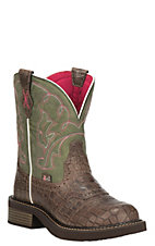 Justin Gypsy Collection Women's Brown Gator Print Foot with Green Upper Round Toe Boots