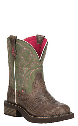 Justin Women's Gypsy Collection Brown Gator Print and Green Round Toe Boots