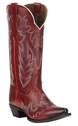 Justin Women's Western Fashion Red Snip Toe Western Boots