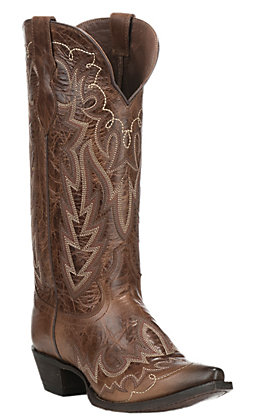 Justin Ladies Western Fashion Oak Brown Snip Toe Western Boots