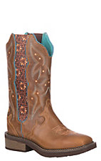 Justin Women's Gypsy Collection Tan Leather Western Wide Square Toe Boot