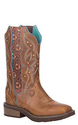 Justin Women's Gypsy Collection Tan Leather Wid Square Toe Western Boot