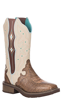 Justin Women's Gypsy Collection Brown Gator Print and Bone Leather Western Wide Square Toe Boot