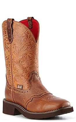 Justin Women's Gypsy Collection Tan Floral Embossed Square Toe Boots