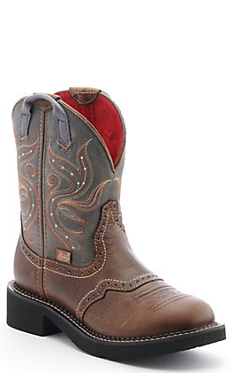 Justin Women's Gypsy Collection Tan and Charcoal Round Toe Western Boots