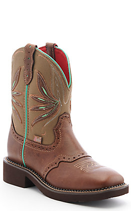 Justin Women's Gypsy Collection Tan and Olive Square Toe Boots
