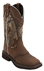Justin Gypsy Women's Aged Bark Brown w/Real Tree Camo Top Saddle Vamp Square Toe Western Boots