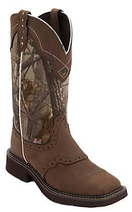 Justin Women's Gypsy Collection Aged Bark Brown with Real Tree Camo Top Saddle Vamp Square Toe Western Boots