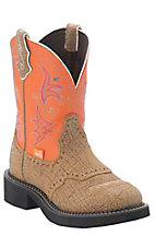 Justin Gypsy Women's Safari Brown w/ Tangerine Round Toe Western Boots